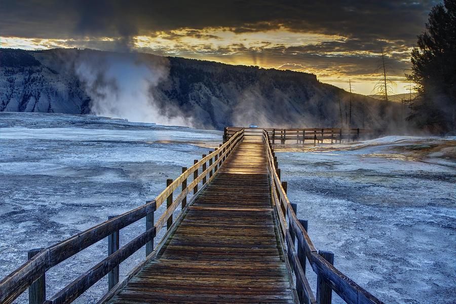 Yellowstone National Park Photograph - Terrace Boardwalk by Mark Kiver