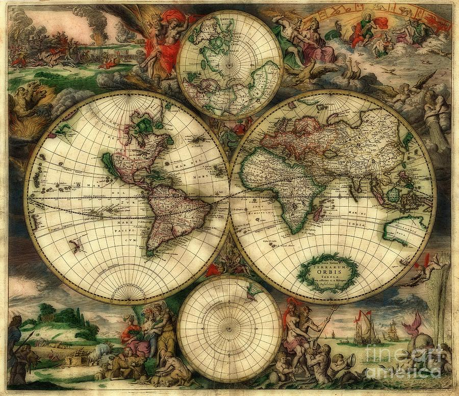 Orbis Photograph - Terrarum Orbis Old World Map  by Inspired Nature Photography Fine Art Photography