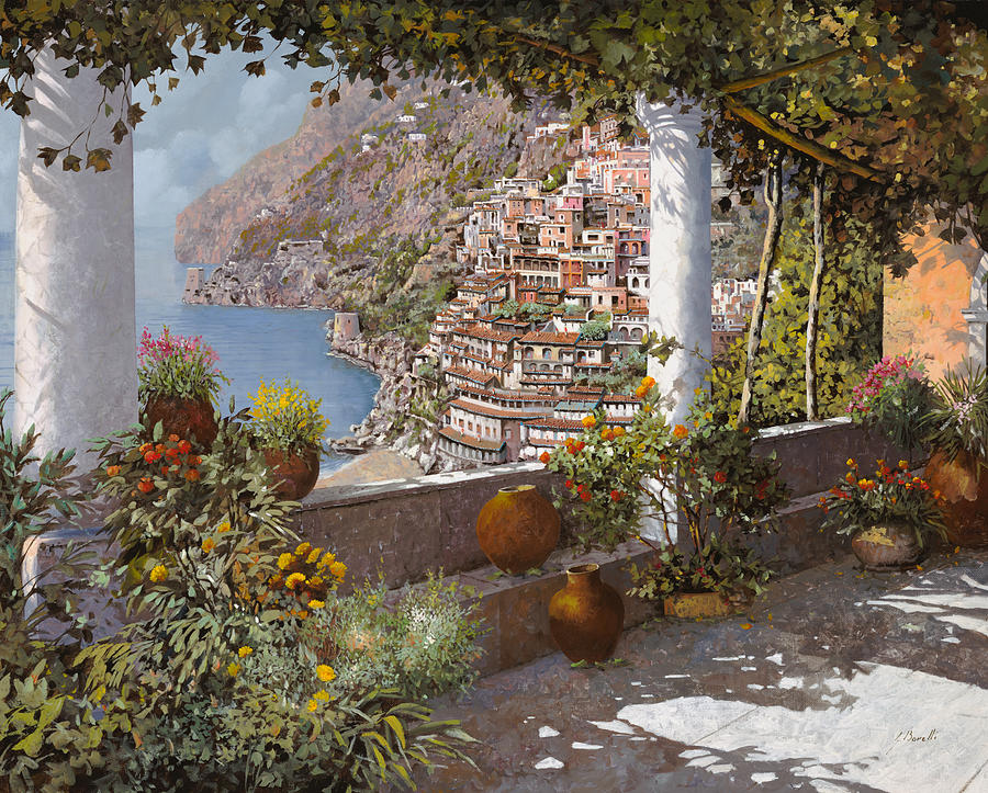 Positano Painting - terrazza a Positano by Guido Borelli