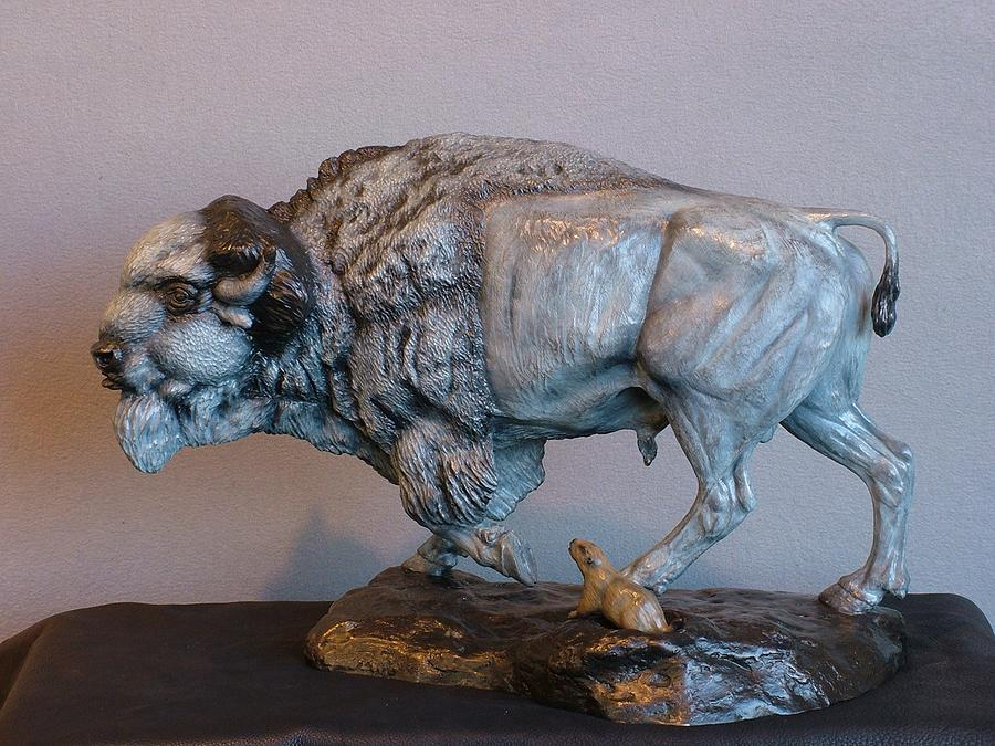 Wildlife Sculpture - Territorial Dispute by Peggy Detmers