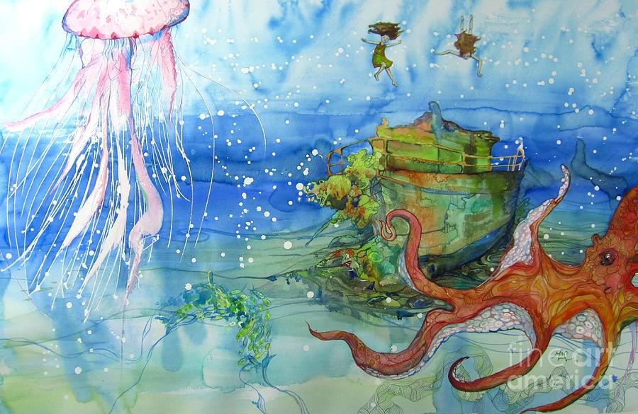 Octopus Painting - Territory by Maya Simonson