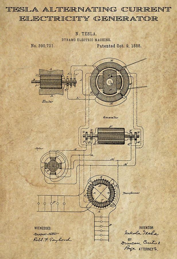alternating current tesla. tesla digital art - alternating current 3 patent 1888 by daniel hagerman