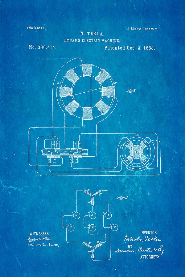 Tesla electric dynamo patent art 2 1888 blueprint photograph by electricity photograph tesla electric dynamo patent art 2 1888 blueprint by ian monk malvernweather Gallery