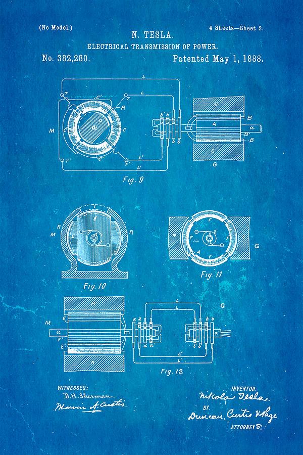 Tesla electrical transmission of power patent art 2 1888 blueprint electricity photograph tesla electrical transmission of power patent art 2 1888 blueprint by ian monk malvernweather Choice Image