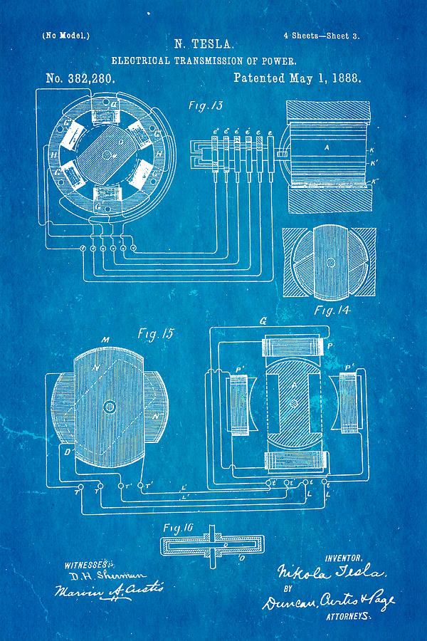 Tesla electrical transmission of power patent art 3 1888 blueprint electricity photograph tesla electrical transmission of power patent art 3 1888 blueprint by ian monk malvernweather