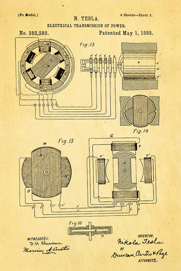Electricity Photograph - Tesla Electrical Transmission Of Power Patent Art 3 1888 by Ian Monk