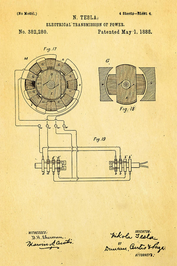 Electricity Photograph - Tesla Electrical Transmission Of Power Patent Art 4 1888 by Ian Monk