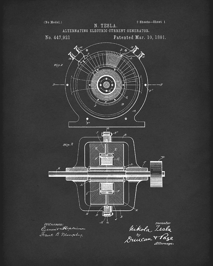 Tesla Generator 1891 Patent Art  Black by Prior Art Design