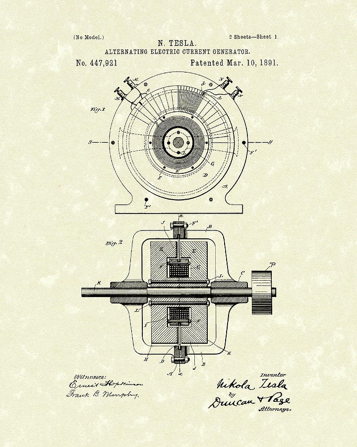 Tesla Drawing - Tesla Generator 1891 Patent Art by Prior Art Design