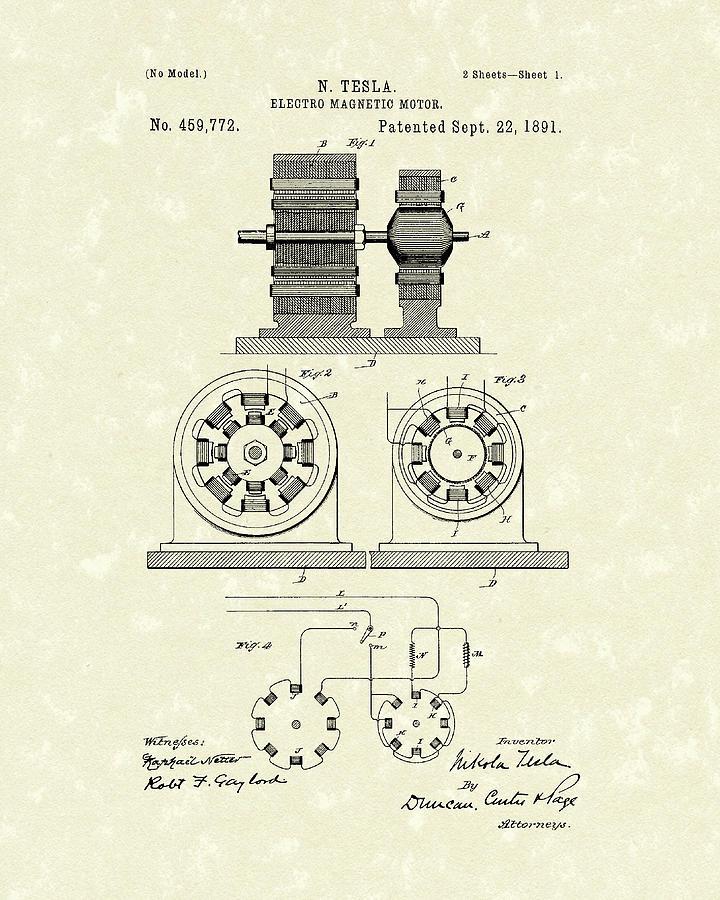 Tesla Motor 1891 Patent Art by Prior Art Design