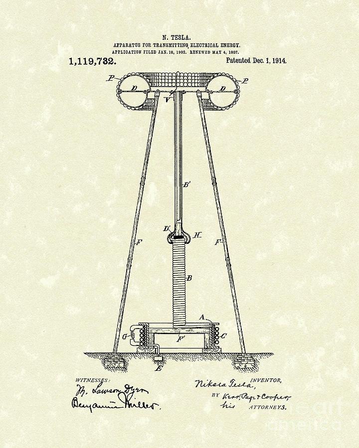 Tesla Drawing - Tesla Transmitter 1914 Patent Art by Prior Art Design