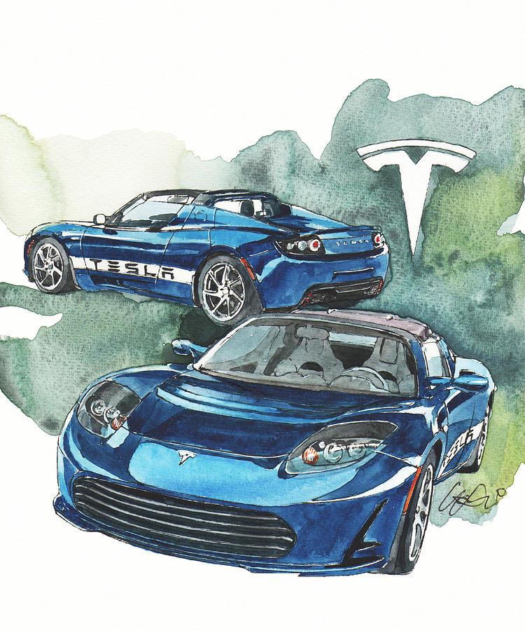 Tesla Painting by Yoshiharu Miyakawa