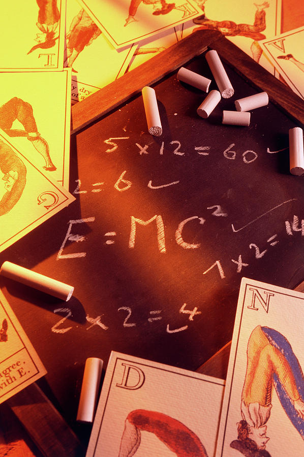 Blackboard Photograph - Test Answers Including E=mc2 On A Blackboard by Tony Craddock/science Photo Library