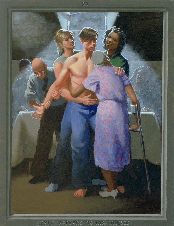 Jesus Painting - 21. Jesus Appears to His Friends / from The Passion of Christ - A Gay Vision by Doug Blanchard