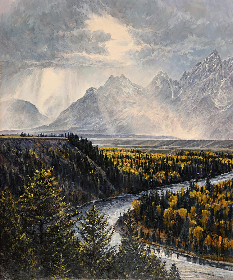 River Painting - Teton Illumination by Steve Spencer