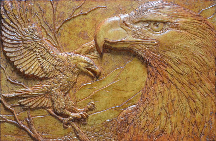 Eagles Sculpture - Teton Pair by Jeremiah Welsh