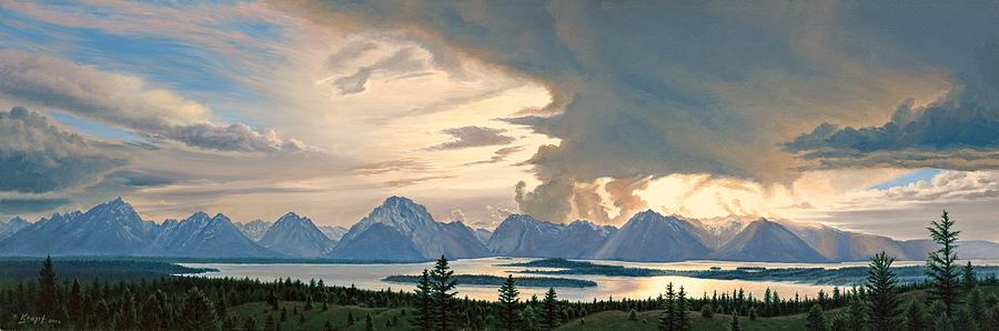 Mountains Painting - Teton Range From Signal Mountain by Paul Krapf