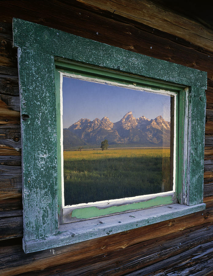 Window Photograph - Teton Window Reflection by Mike Norton