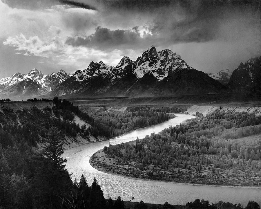 Ansel Adams Digital Art - Tetons And The Snake River by Ansel Adams