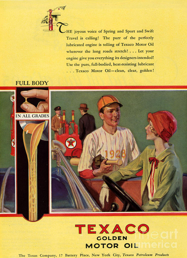 1920s Drawing - Texaco 1926 1920s Usa Cc  Baseball  Oil by The Advertising Archives