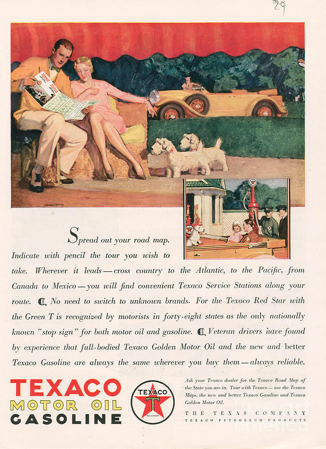 1920�s Drawing - Texaco 1929 1920s Usa Cc Oil Gas Petrol by The Advertising Archives
