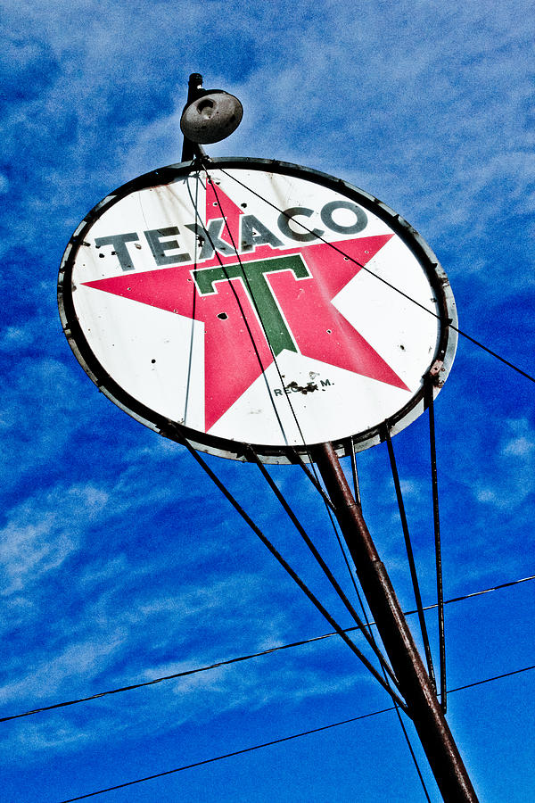 Vintage Sign Photograph - Texaco Gasoline by Merrick Imagery