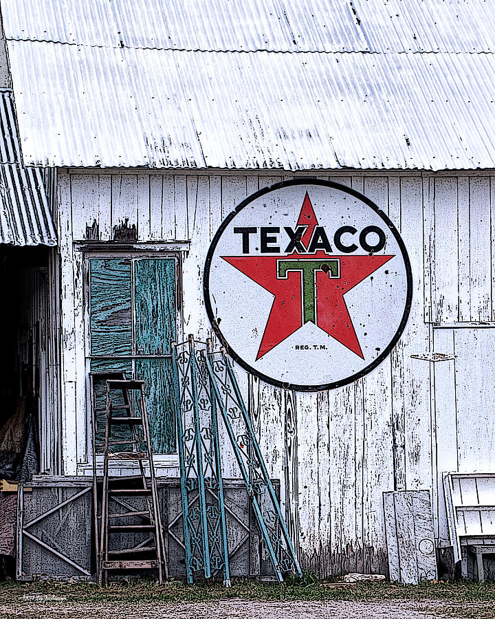 Sign Photograph - Texaco Times Past by Lucy VanSwearingen