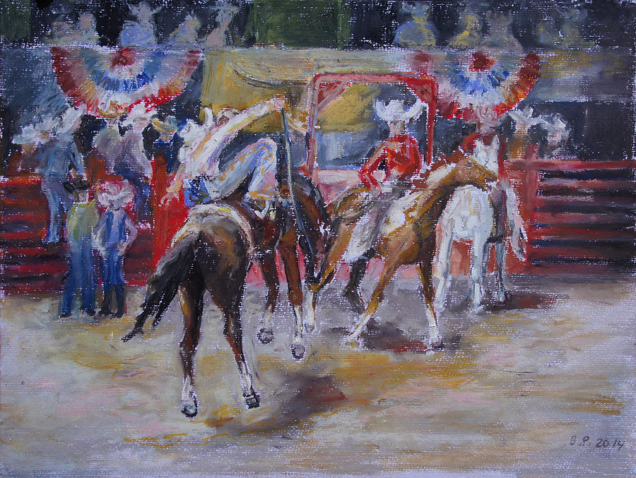 Horse Painting - Texan Rodeo by Barbara Pommerenke