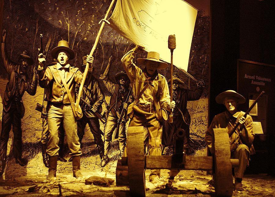 History Pyrography - Texans Resisting Santa Ana by Linda Phelps