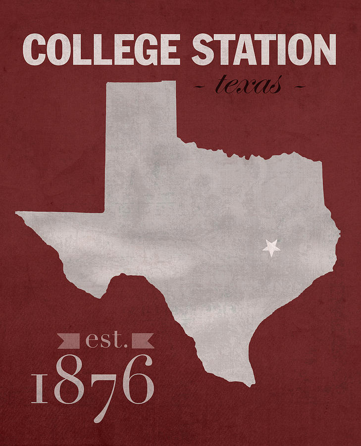 Texas A And M University Aggies College Station College Town State - College station texas map