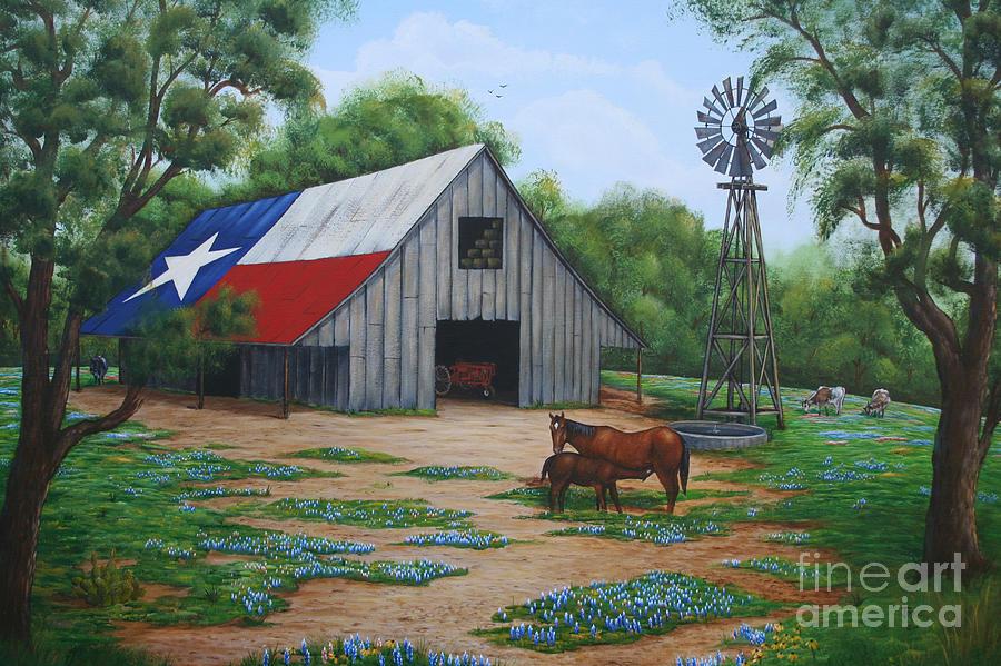 Texas Barn Painting Jimmie Bartlett