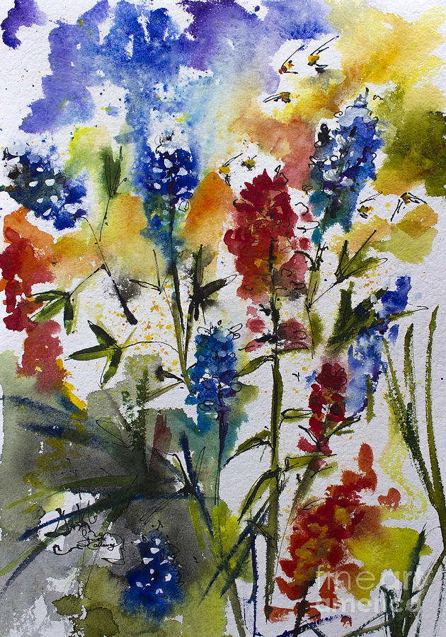 5891b128aad6b Texas Blue Bonnets And Indian Paintbrush Watercolor Painting by ...