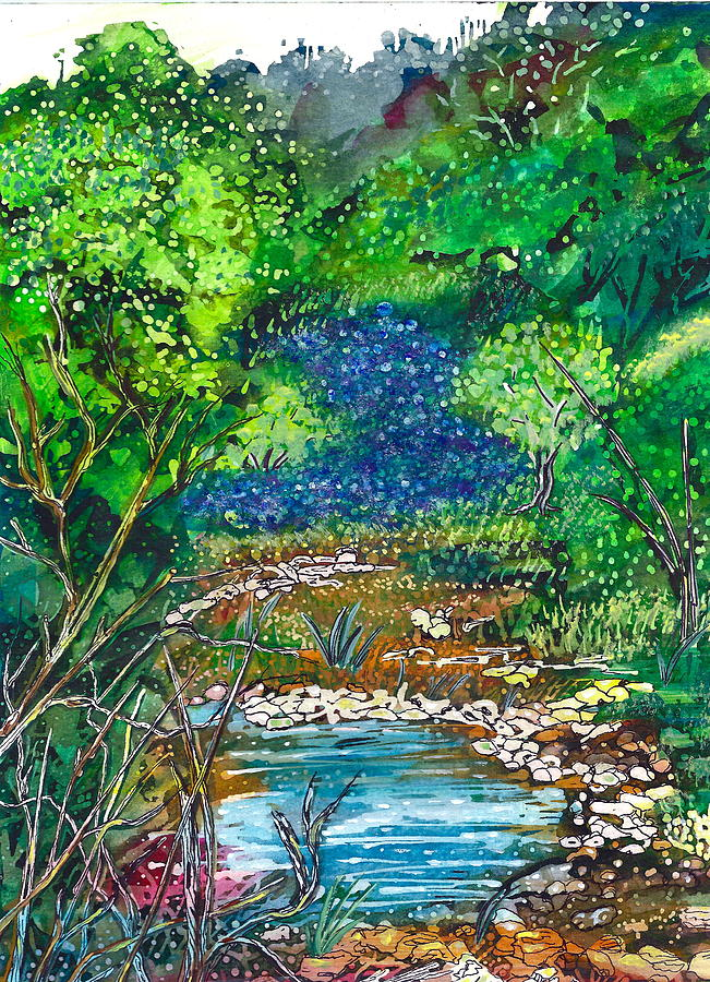 Texas Bluebonnets And Sparkling Stream Painting