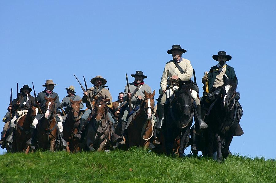 American Photograph - Texas Cavalry Regiment Descending - Perryville Ky by Thia Stover