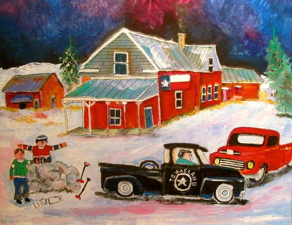 Texas Flag Painting - Texas Farm Winter by Michael Litvack