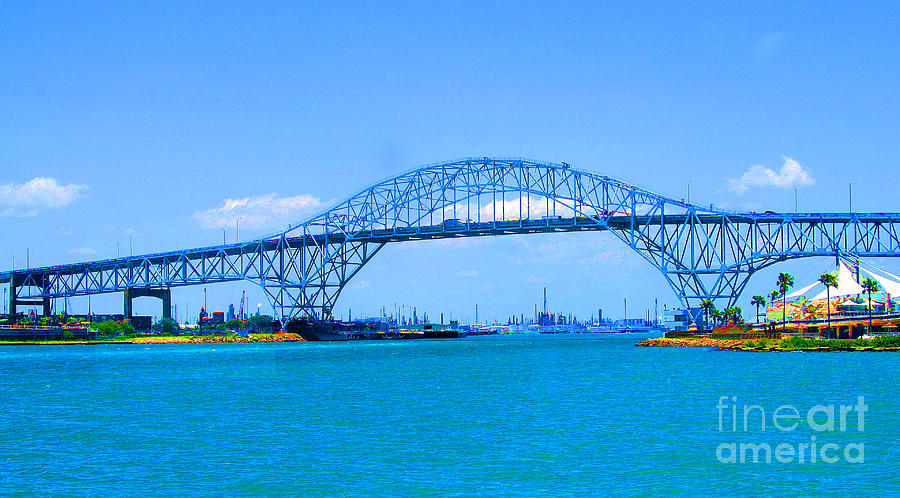 Bridge Photograph - Texas Harbor Bridge by Tina M Wenger