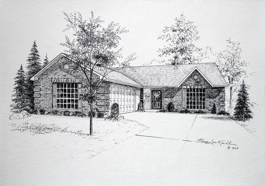Homes Drawing - Texas Home 1 by Hanne Lore Koehler