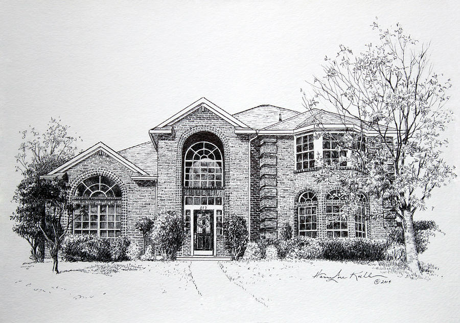 Homes Drawing - Texas Home 2 by Hanne Lore Koehler