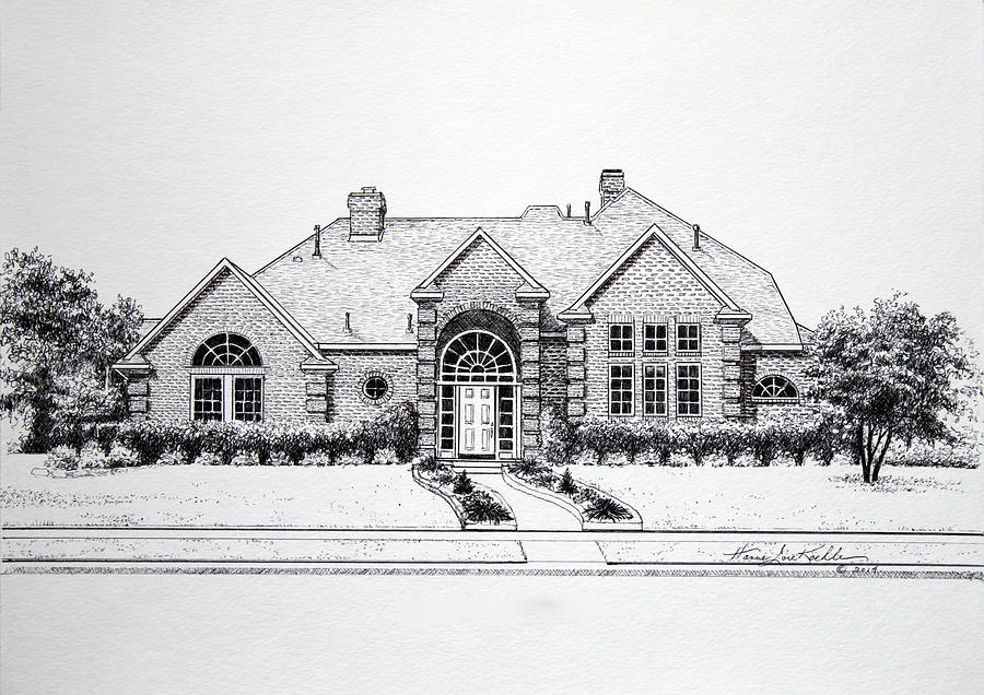 Homes Drawing - Texas Home 3 by Hanne Lore Koehler