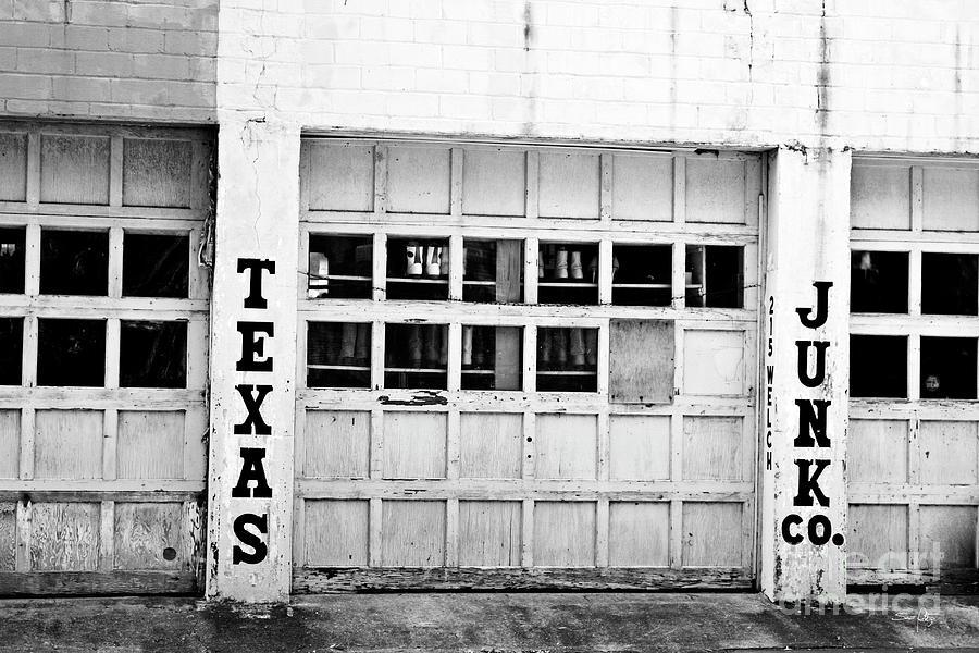 Black White Photograph - Texas Junk Co. by Scott Pellegrin