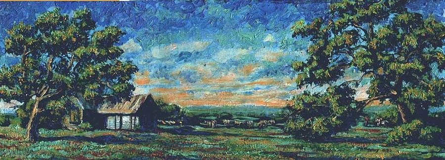 Texas Painting - Texas Landscape Miniature by Dan Terry
