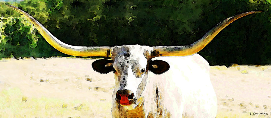 Cow Painting - Texas Longhorn - Bull Cow by Sharon Cummings
