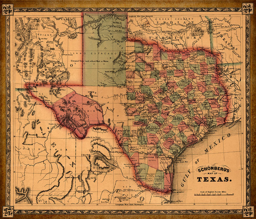 Texas Map Art Vintage Antique Map Of Texas Drawing by World Art