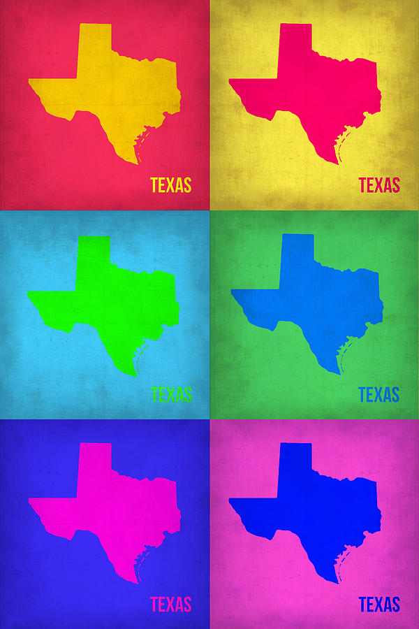Texas Map Painting - Texas Pop Art Map 1 by Naxart Studio