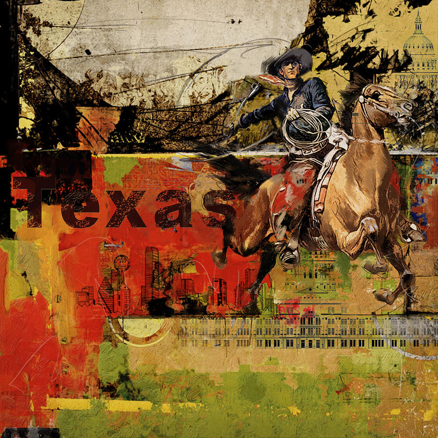 Texas Painting - Texas Rodeo by Corporate Art Task Force