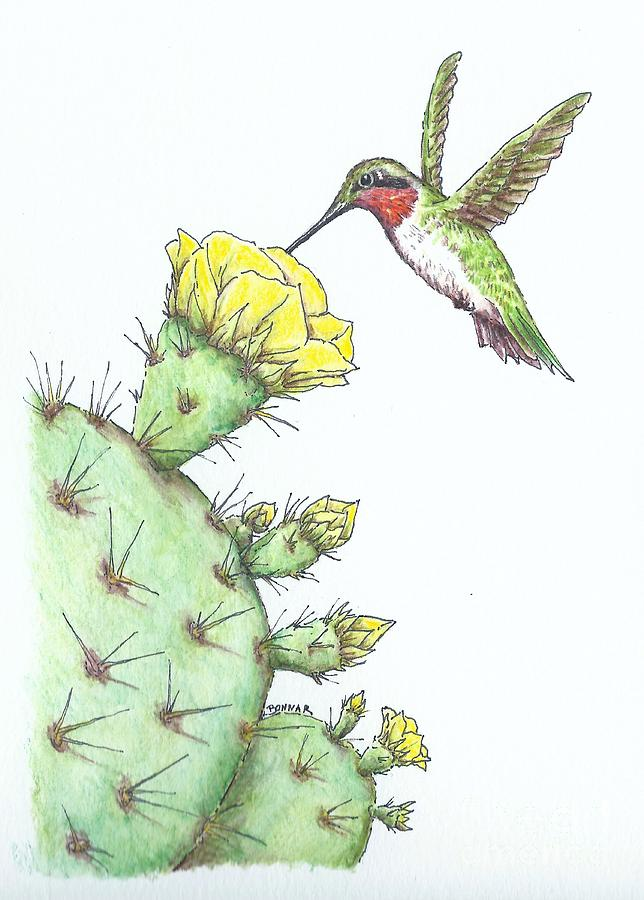 Ruby Throated Hummingbird Painting - Texas Ruby Among the Thorns by Sue Bonnar