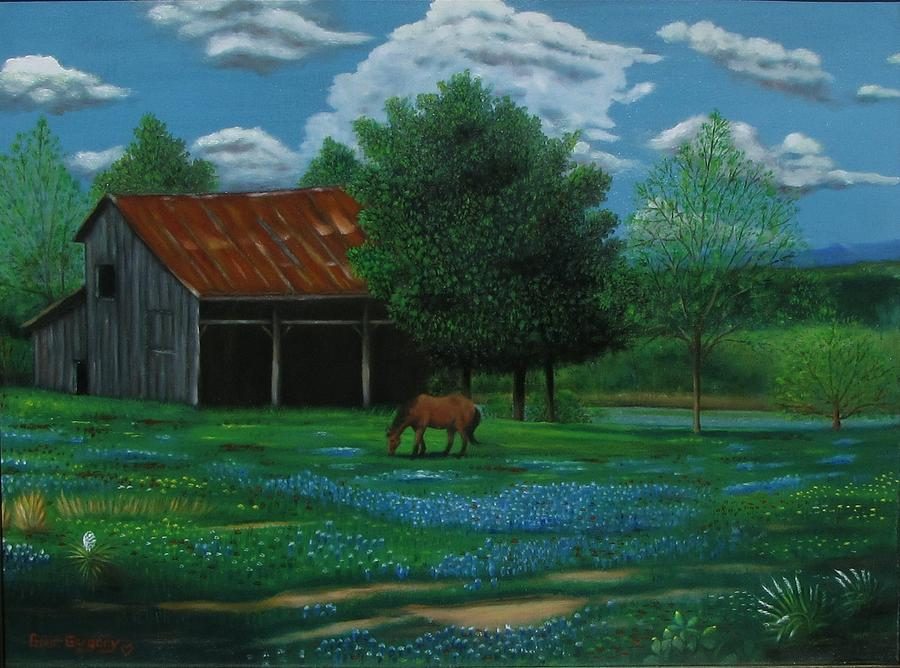 Horse Painting - Texas Spring  by Gene Gregory