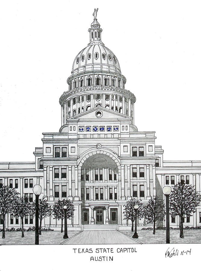 Texas State Capitol Drawing by Frederic Kohli