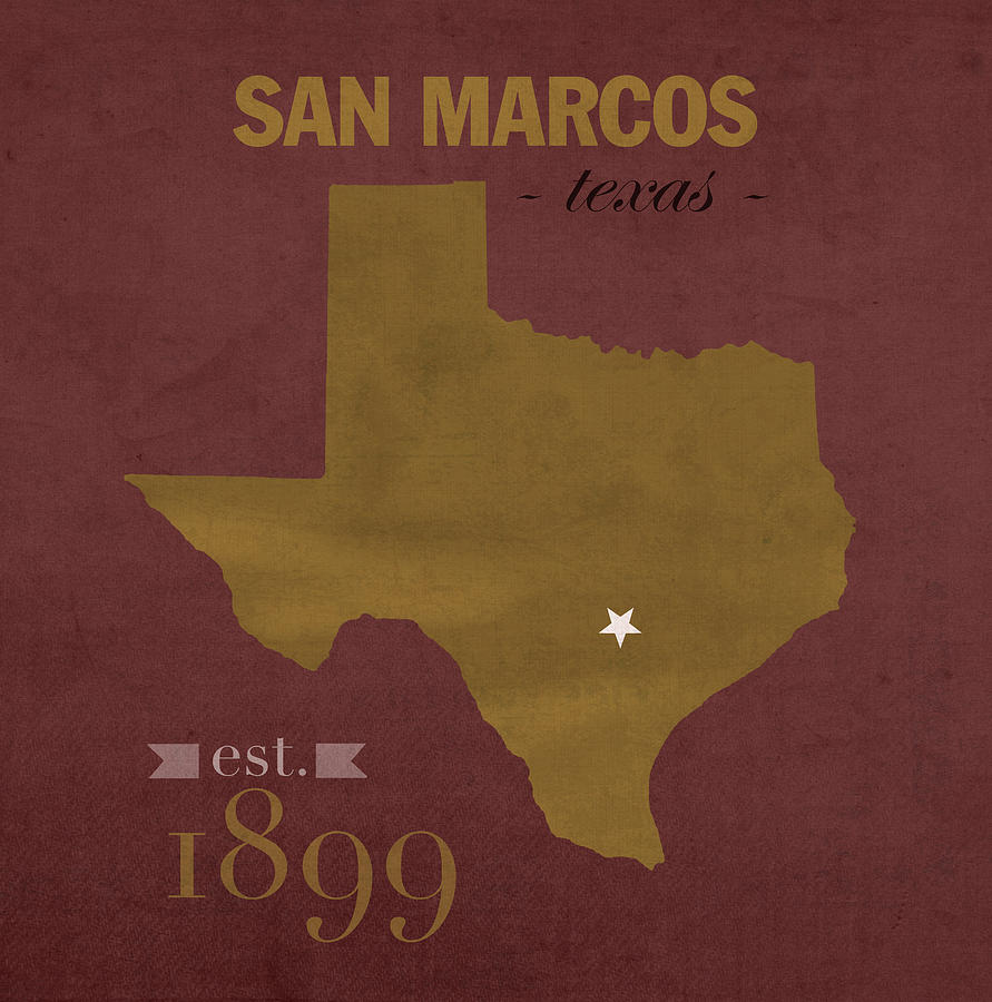 Texas State University Bobcats San Marcos College Town State Map - Texas state map