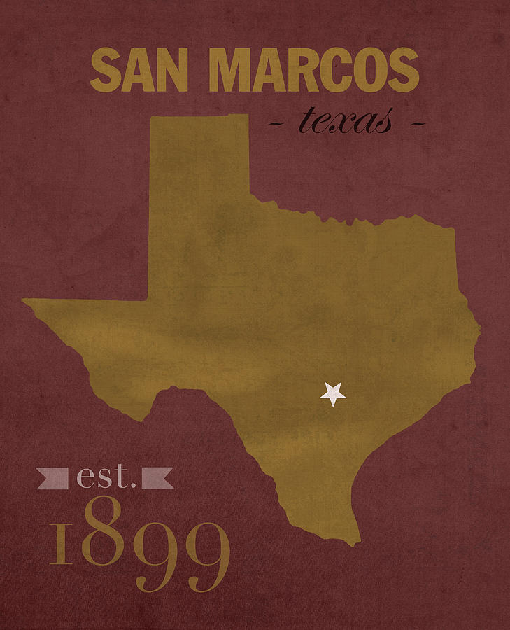Texas State University Bobcats San Marcos College Town State Map - Us college map poster